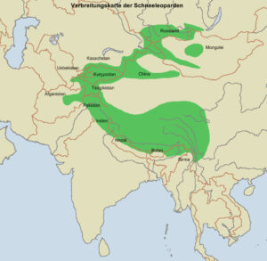 Abb.1: Verbreitungsgebiet des Schneeleoparden.